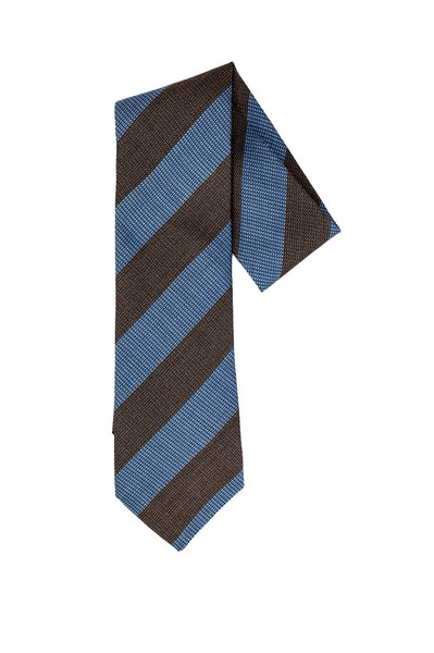 Robert Jensen Diagonal Stripes Printed Tie, Brown