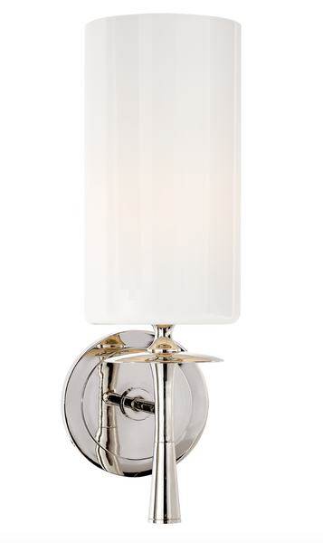 Drunmore Single Sconce, Polished Nickel with White Glass Shade