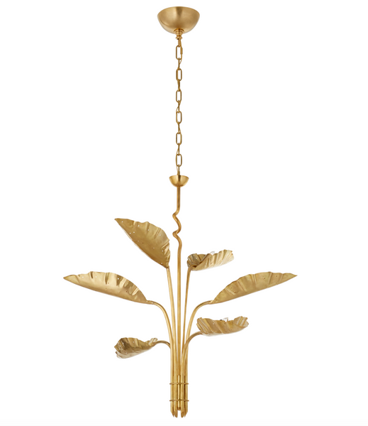Dumaine Pierced Leaf Brass Chandelier