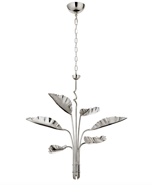 Dumaine Pierced Leaf Nickel Chandelier