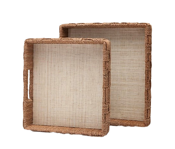 Natural Rope and Raffia Tray, Small
