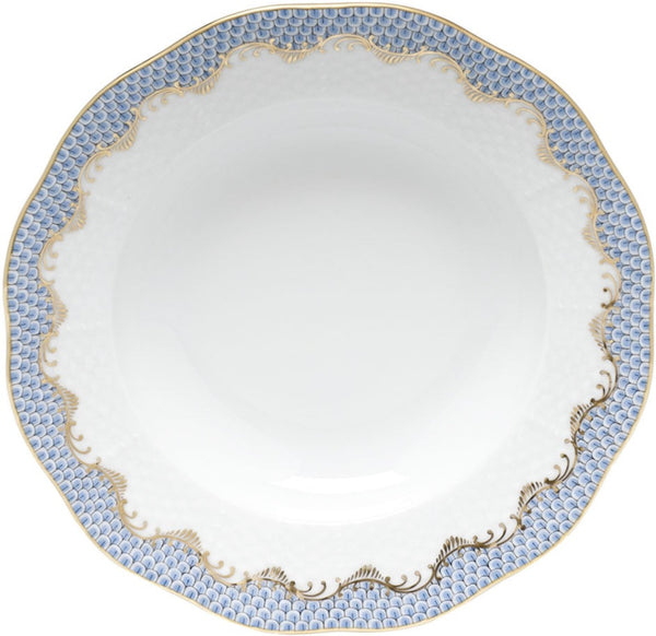 Herend Fish Scale Rim Soup Plate, Light Blue 8""