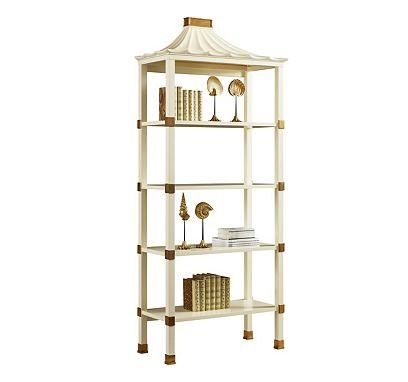 Etagere in Creme Lacquer Finish with Brass Accents