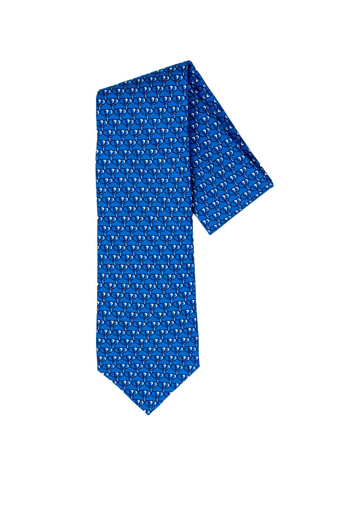 Robert Jensen Elephant Stampede Printed Tie Royal Blue Hive Home Gift And Garden