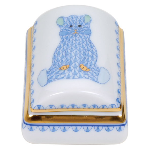 Herend Bear Tooth Fairy Box, Blue