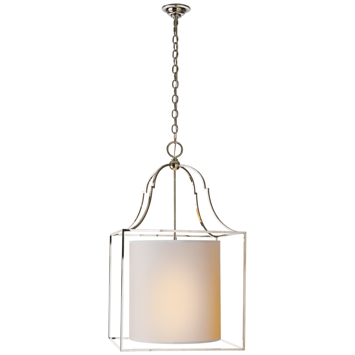 Gustavian Lantern in Polished Nickel with Natural Paper Shade