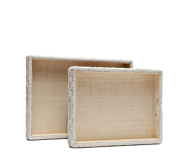 White Rope and Raffia Tray, Large