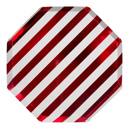 Shiny Red Stripe Dinner Plates, Set of 8