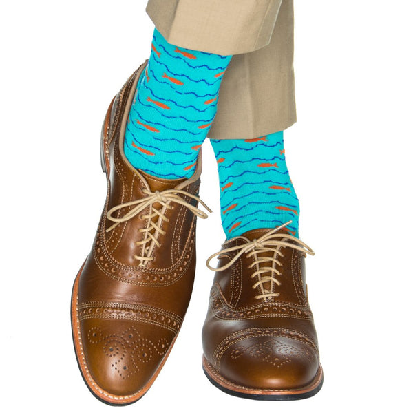 Dapper Classics Fish Mid Calf Socks, Ceramic Sky/Orange