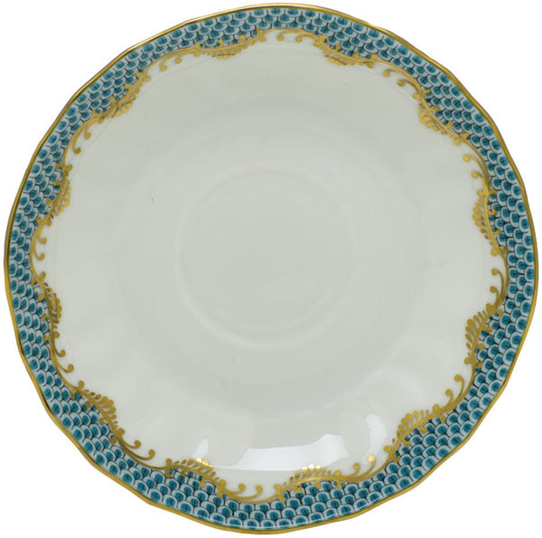 Herend Fish Scale Canton Tea Saucer, Turquoise 5.5""