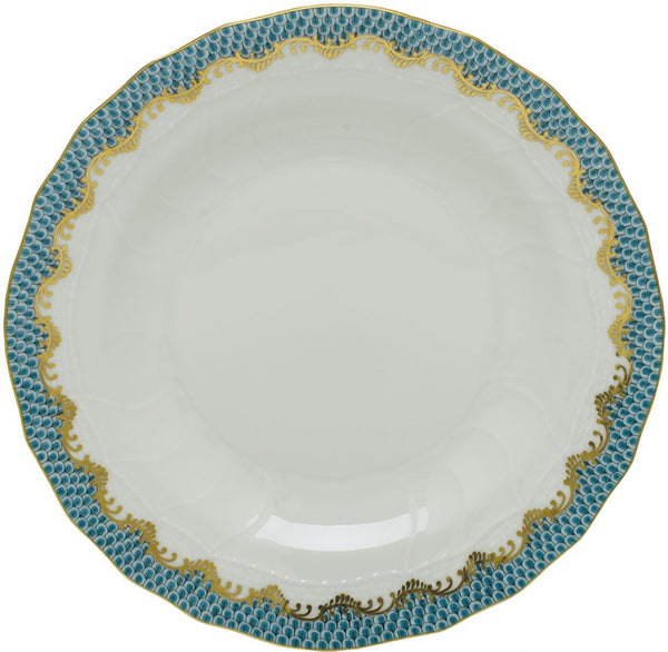 Herend Fish Scale Dessert Plate, Turquoise 8.25""