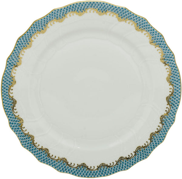 Herend Fish Scale Dinner Plate, Turquoise 10.5""