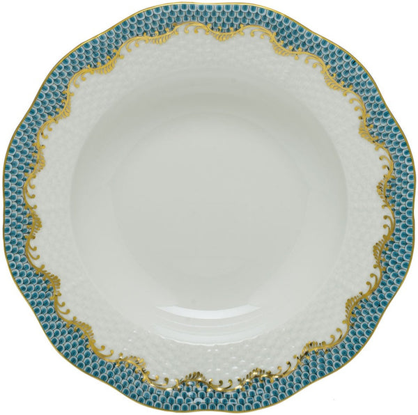 Herend Fish Scale Rim Soup Plate, Turquoise 8""