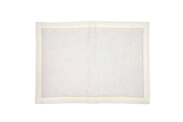 linen placemats, white/natural pico edge
