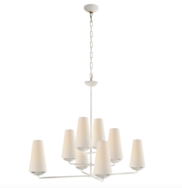 Fontaine Large Offset Chandelier, Plaster White