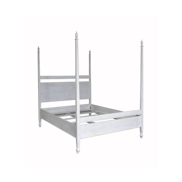 Four Poster White Wash Venice Bed, Queen