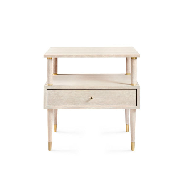 Gabriel 1 Drawer Side Table, Bleached Cerused Oak
