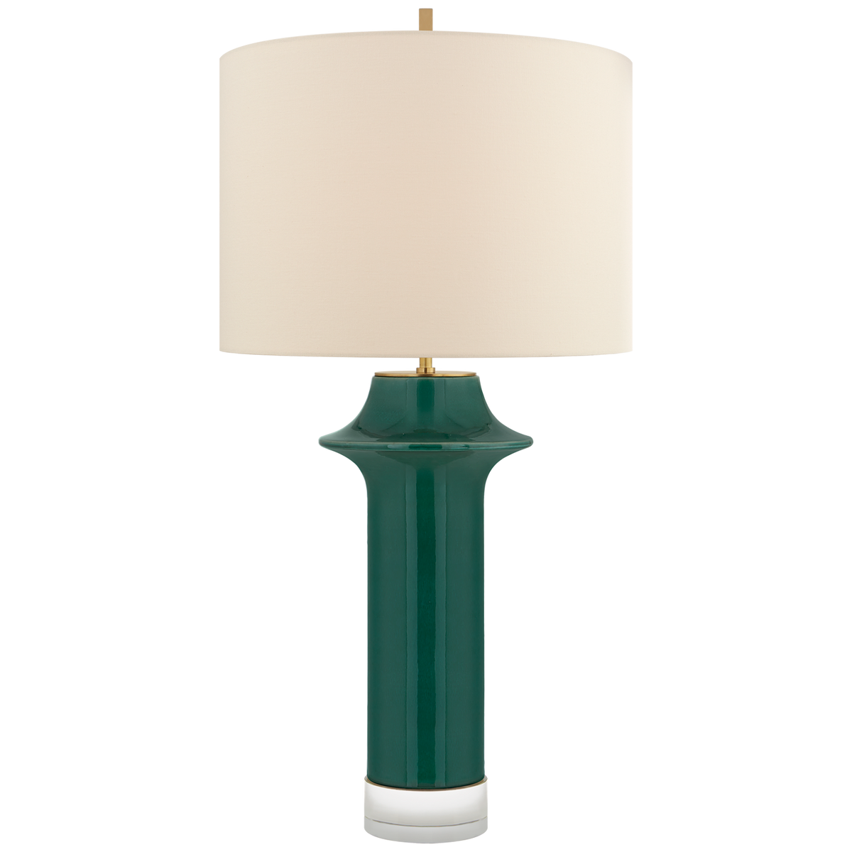 Giry Large Peaked Table Lamp, Emerald Crackle