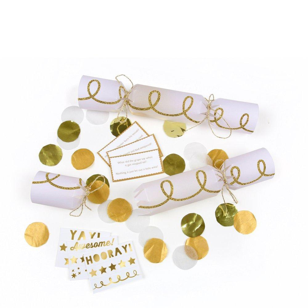 Meri Meri Gold Twist Confetti Crackers