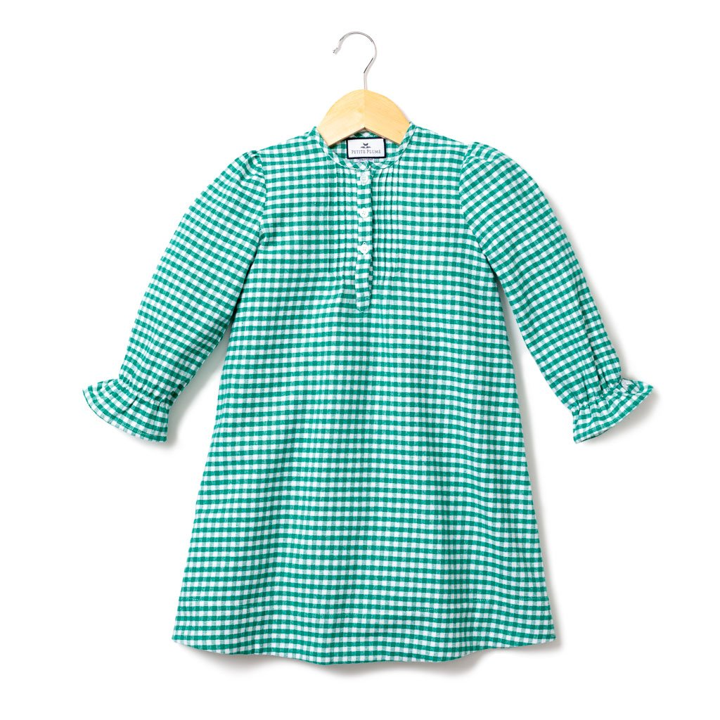 Green Gingham Beatrice Flannel Nightgown