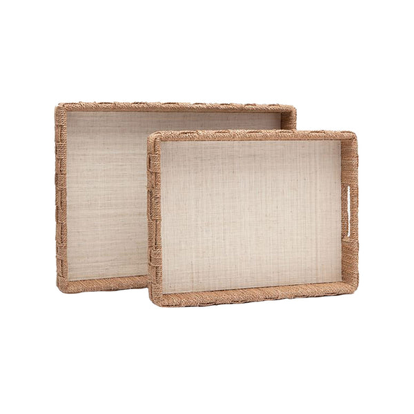 Heather Natural Rope and Raffia Tray, Large