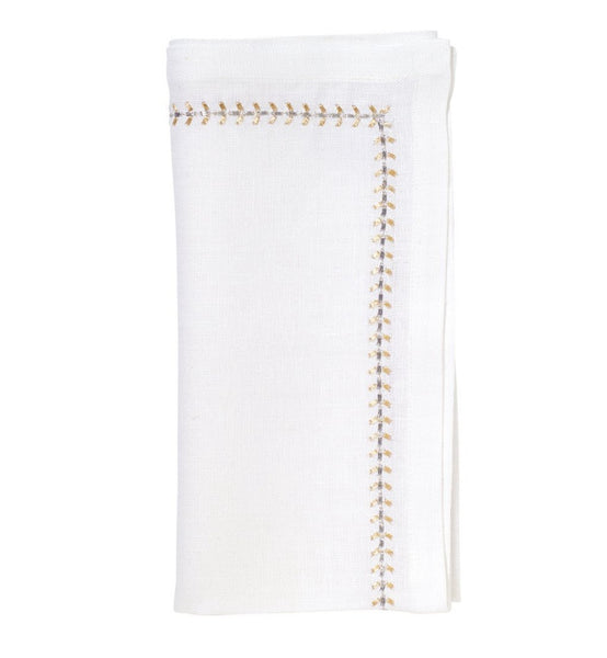 Herringbone Napkins - White, Gold, Silver