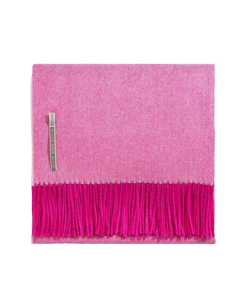 Alicia Adams Alpaca Classic Throw, Hot Pink Herringbone