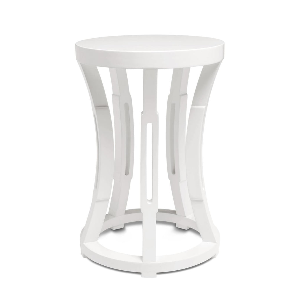 White Hourglass Side Table