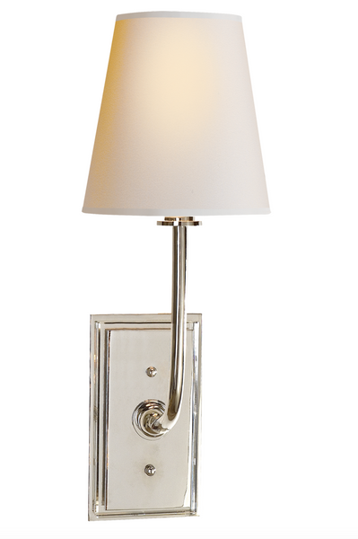 Hulton Single Sconce, Polished Nickel and Crystal Backplate