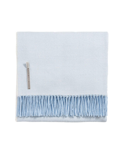 alicia adams alpaca classic throw, ice blue herringbone