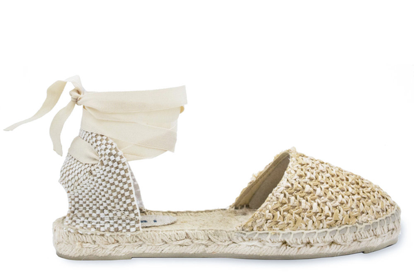 Manebi Flat Tie-Up Sandal, Raffia Net