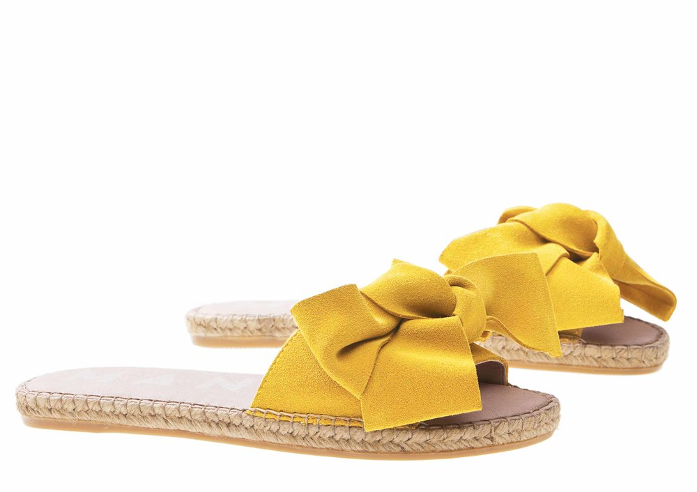 Manebi Hamptons Bow Sandal, Sun Yellow