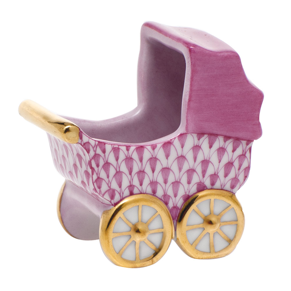 Herend Baby Carriage, Raspberry Pink