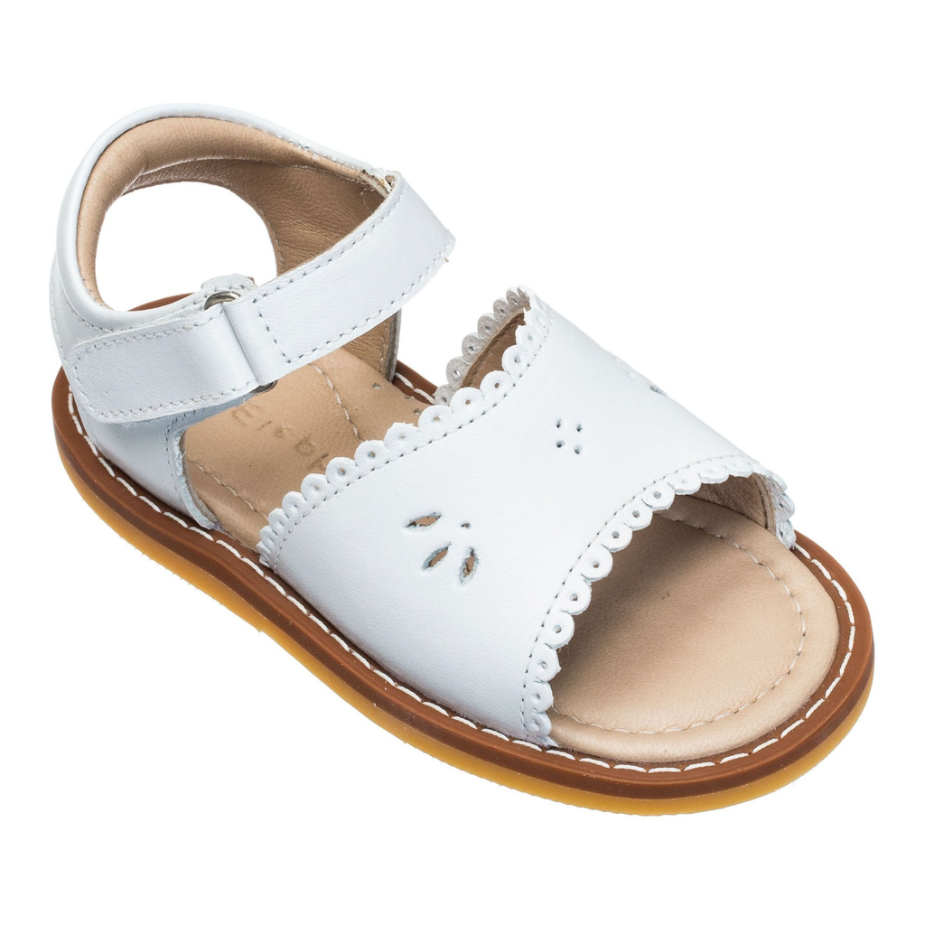 Girls Scallop Leather Sandal