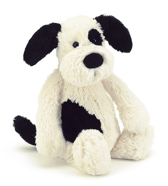 Jellycat Bashful Black & White Puppy, Medium