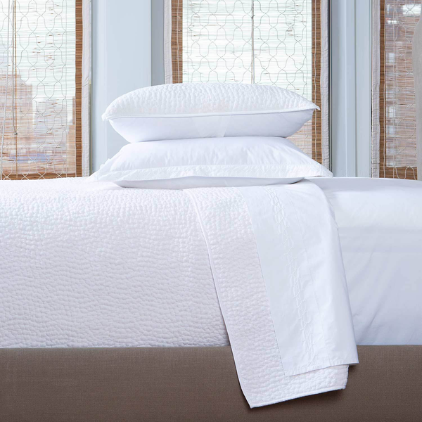 John Robshaw Hand Stitched Coverlet, White