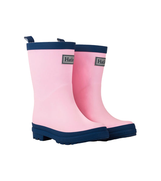 Solid Matte Rain Boots, Pink & Navy