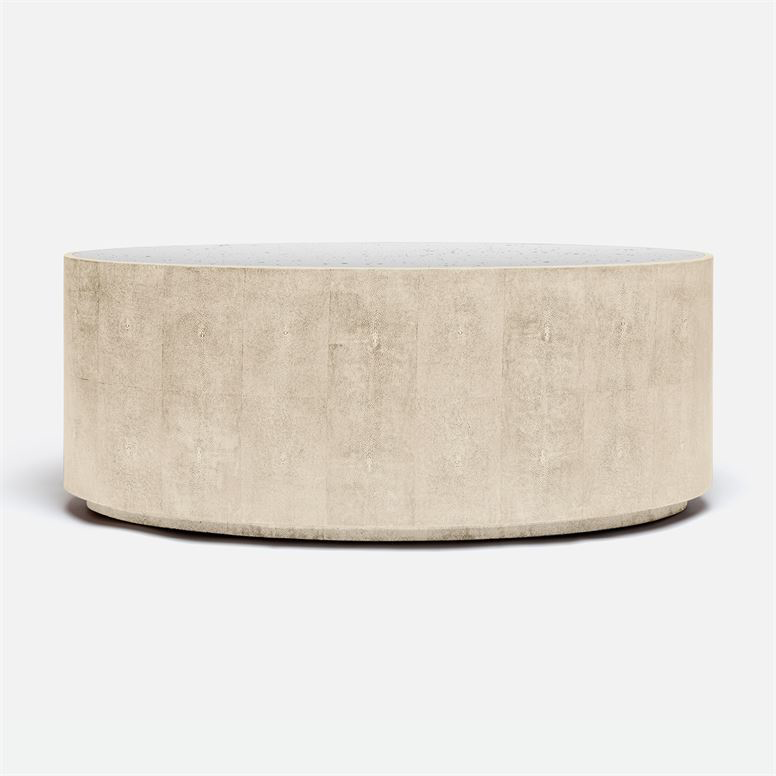 Faux Shagreen Coffee Table, Ivory