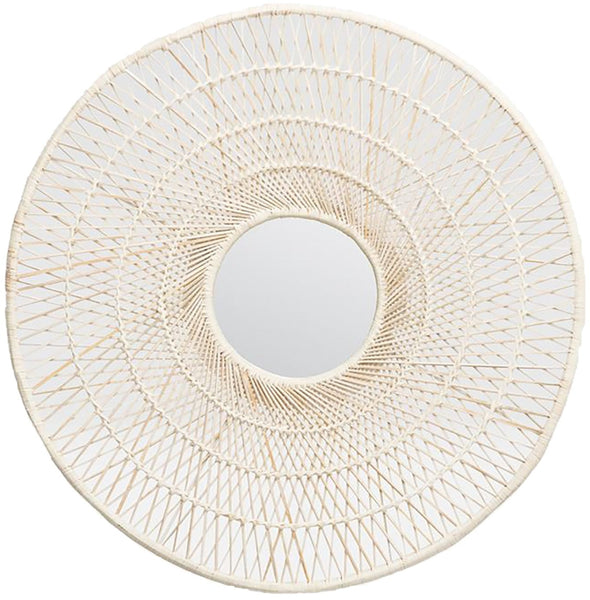 White Buri Palm Mirror