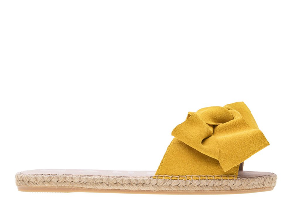 Manebi Flat Sandal with Bow, Sun Yellow Suede