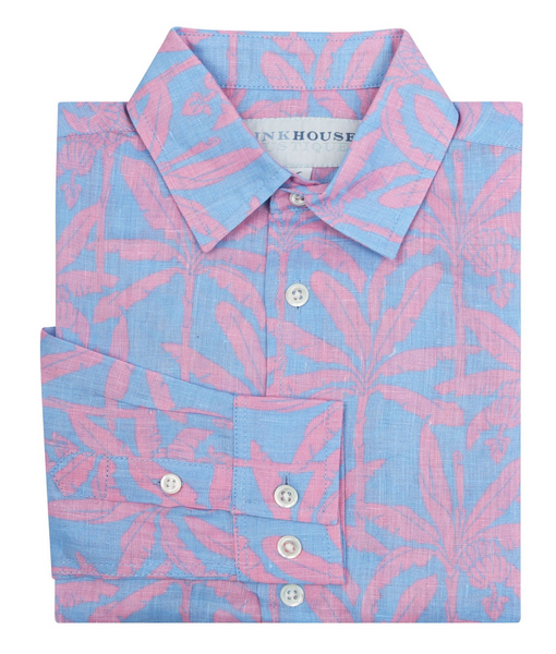 Pink House Mustique Boy's Banana Tree Linen Shirt