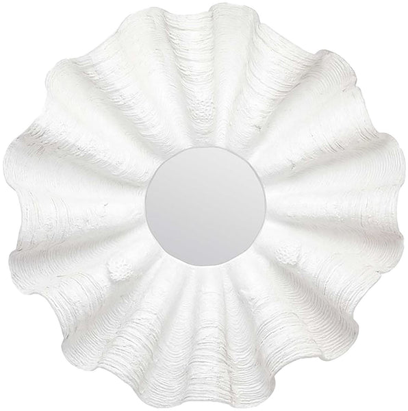 Ava White Clamshell Resin Mirror