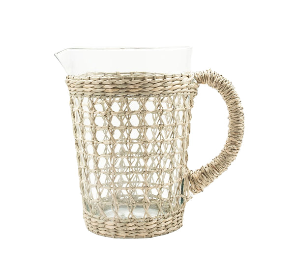 Seagrass Wrapped Cage Pitcher