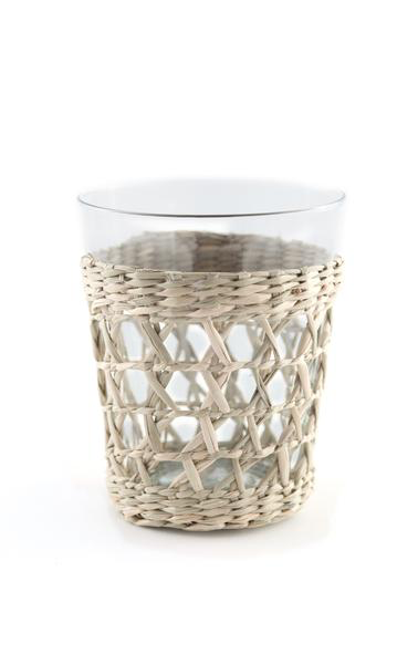 Seagrass Wrapped Cage Wide Tumbler