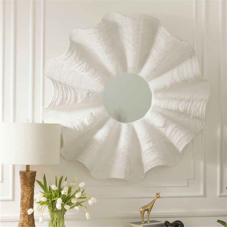 White Clamshell Resin Mirror