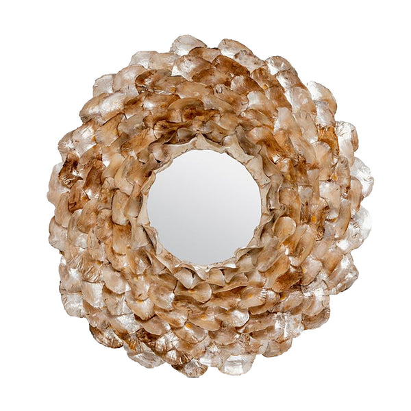 Champagne Oyster Petal Shell Mirror