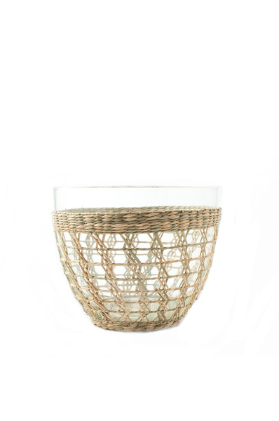 Seagrass Wrapped Cage Serving Bowl, Medium