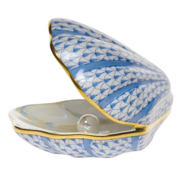 Herend Oyster with Pearl, Blue