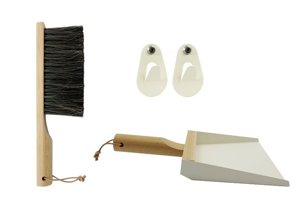 Hand Brush, Dustpan and Wall Hooks in Cream
