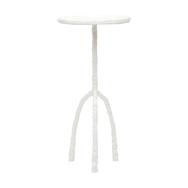 notched iron tripod accent table, white